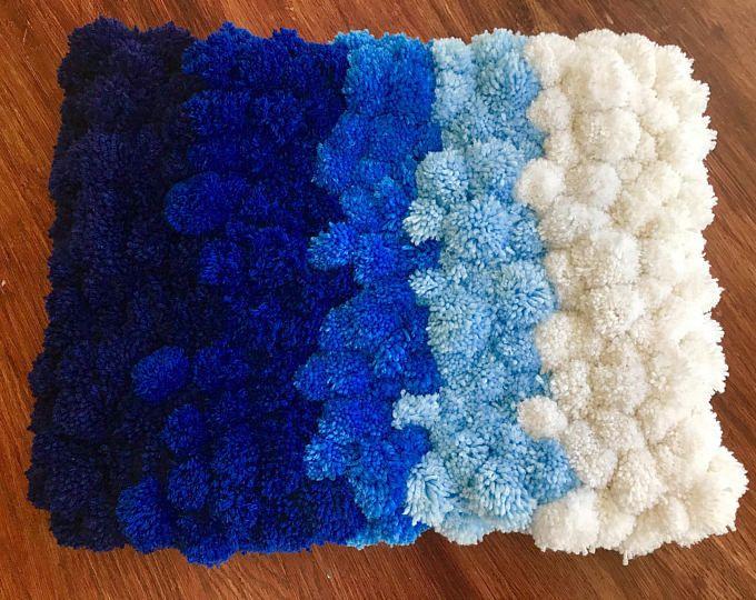 Häkelteppich kinderzimmer ~ Heart rug pink rug pom pom carpet soft area rug kids rug