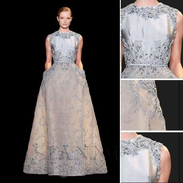 Wholesale Elie Saab Dress - Buy Sparkly Crew Sleeveless A-line Long Silver Taffeta Tulle Lace Beaded Elie Saab Evening Dress, $207.33 | DHgate