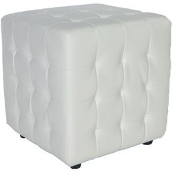 Traditional Izzo White Tufted Cube Ottoman Cube Ottoman Leather