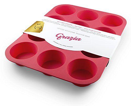 Grazia Silicone Muffin Pan, Red, 12-Cup Grazia http://www.amazon.com/dp/B00D6V59Y2/ref=cm_sw_r_pi_dp_a8mLub1M0EBQX