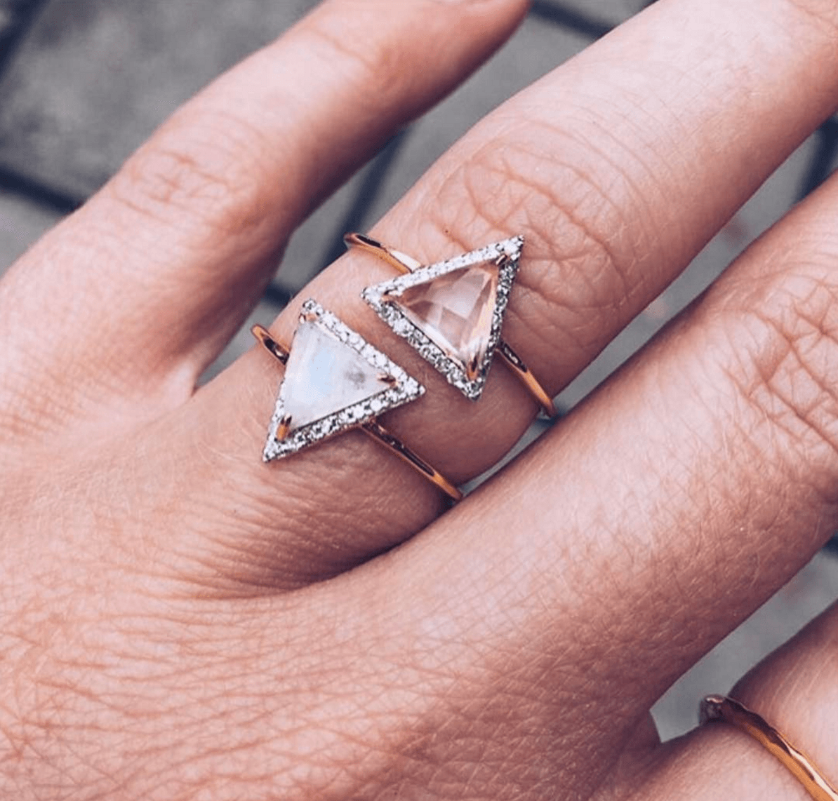 Moonstone & Diamond Triangle Ring | Triangle ring, Moonstones and Carrie