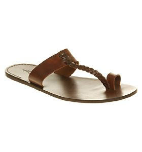 282eb18be Poste POSTE TOE LOOP SANDAL SS10 BROWN LEATHER Shoes - Mens Sandals Shoes -  Office Shoes