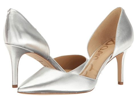 afdbade82f Sam Edelman - Telsa heel in soft silver with soft metallic sheep leather | pointed  toe, leather upper and lining, 3 inch heel.