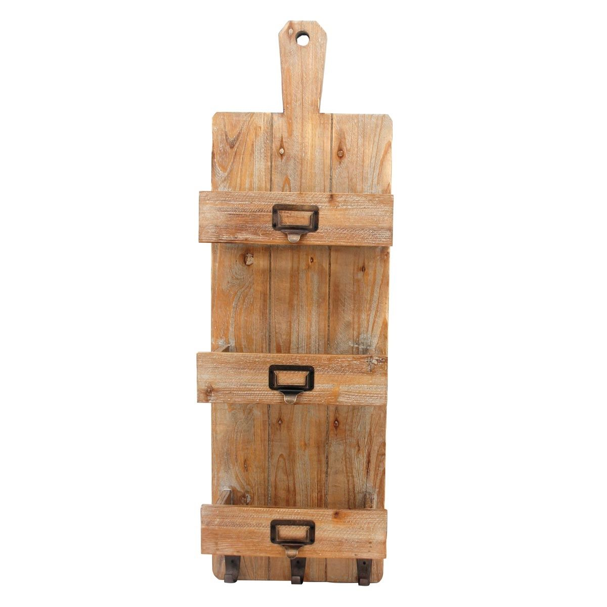Foreside Home & Garden - 3 Bottle Wine Rack with Hooks | Farmhouse ...