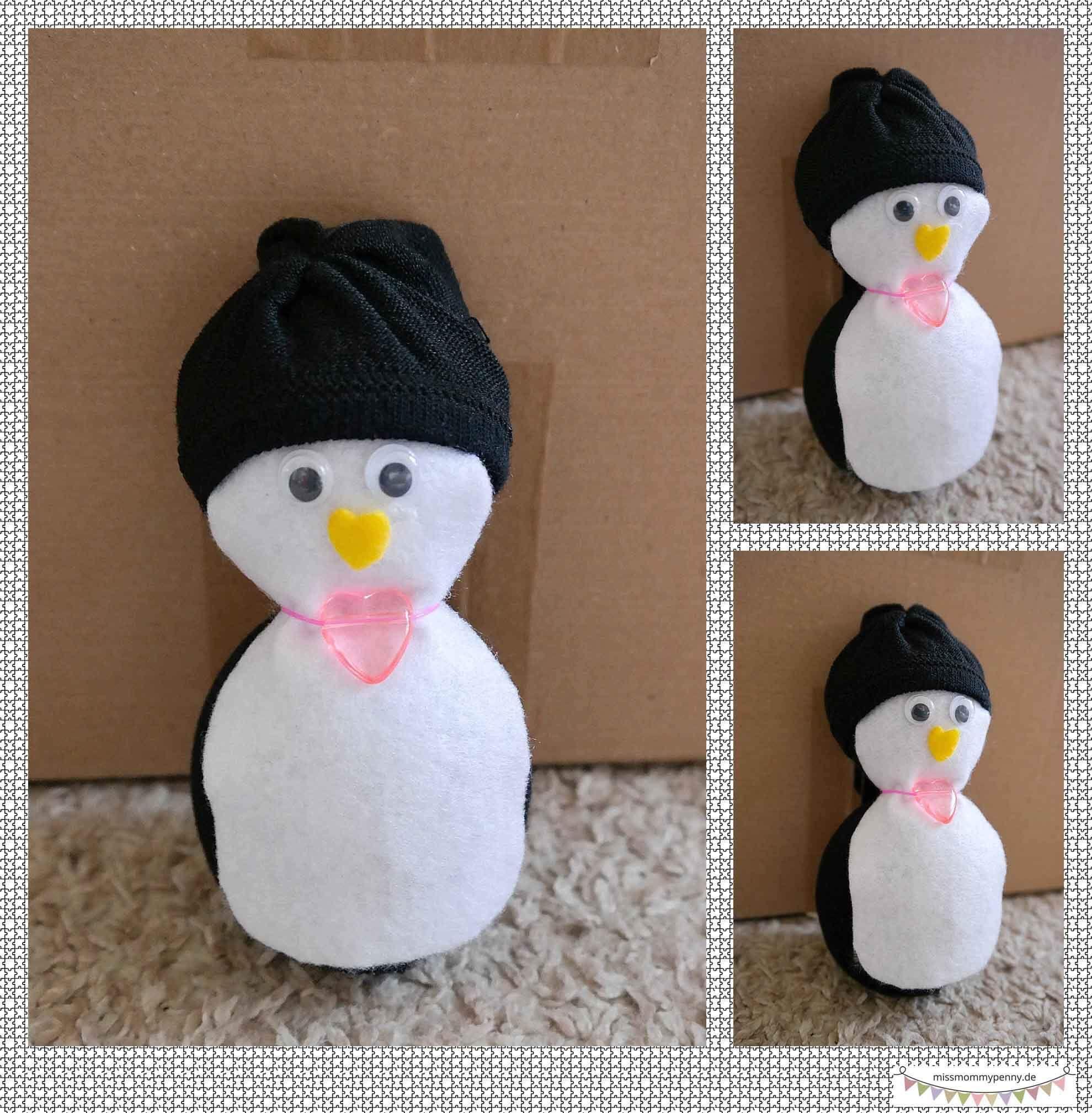 Kuscheltier Pinguin Aus Einer Schwarzen Socke Basteln