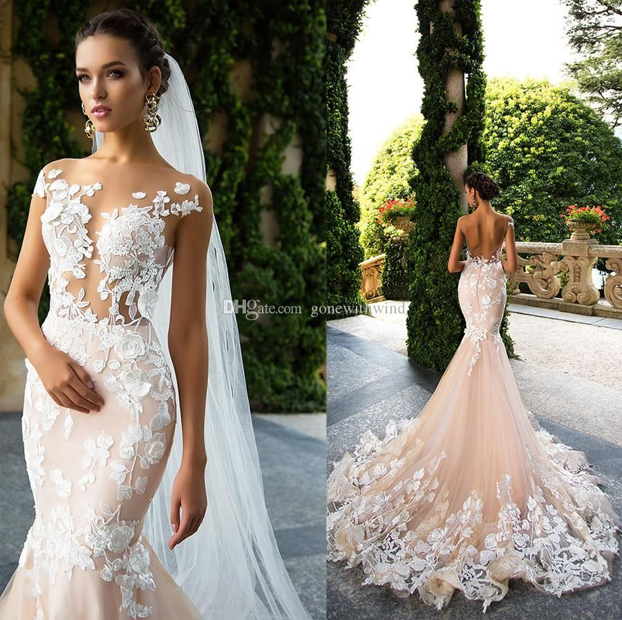 Blush pink mermaid wedding dresses milla nova bridal sexy sheer