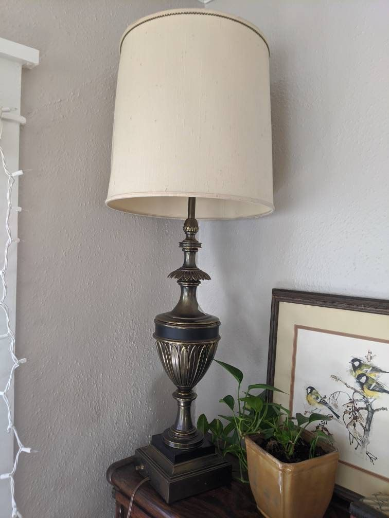 Stiffel Table Lamp Brass Urn 35 Tall Floral Stand Square Base Brass Table Lamps Table Lamp Lamp Table lamp with switch on base