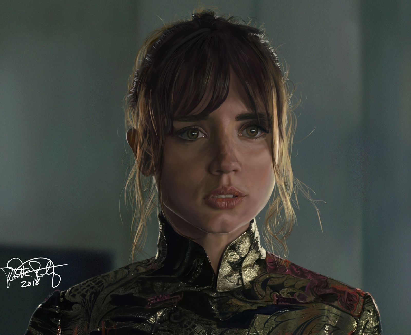 A New Painting After A Looonnnng Time C Amp C Are Much Appreciated Ana De Armas As Joi From Blade Runner 2049 Blade Runner Film Inspiration Girl Face