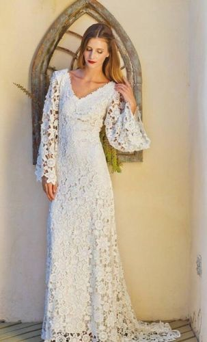 Vintage Bohemian Ivory Crochet Lace Wedding Dress Uk 8 10 12 14 Long