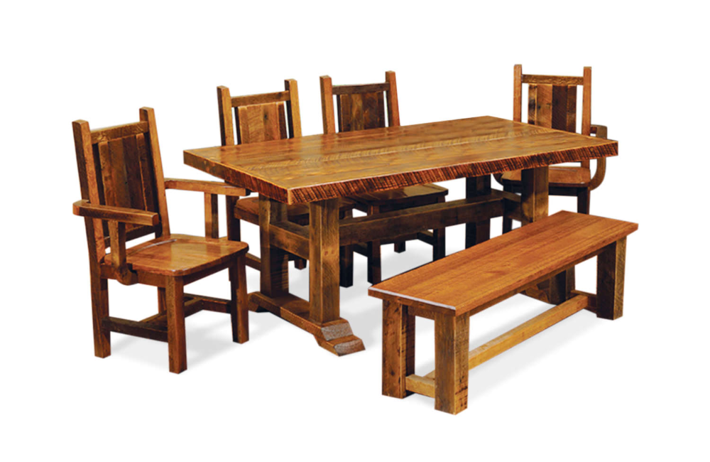 Lodge Barnwood Artisan Table With 4 Wooden Hom Furniture In 2020 Wooden Side Chairs Artisan Table Barn Wood