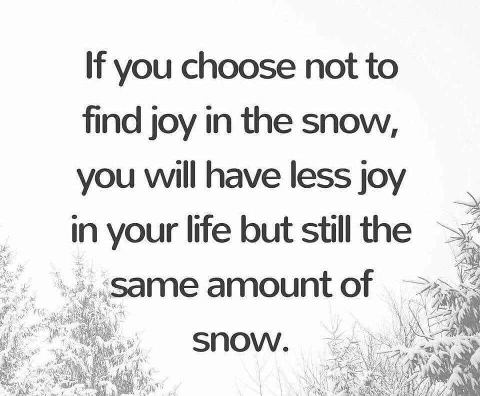 If You Choose Not To Find Joy In The Snow You Will Have Less Joy