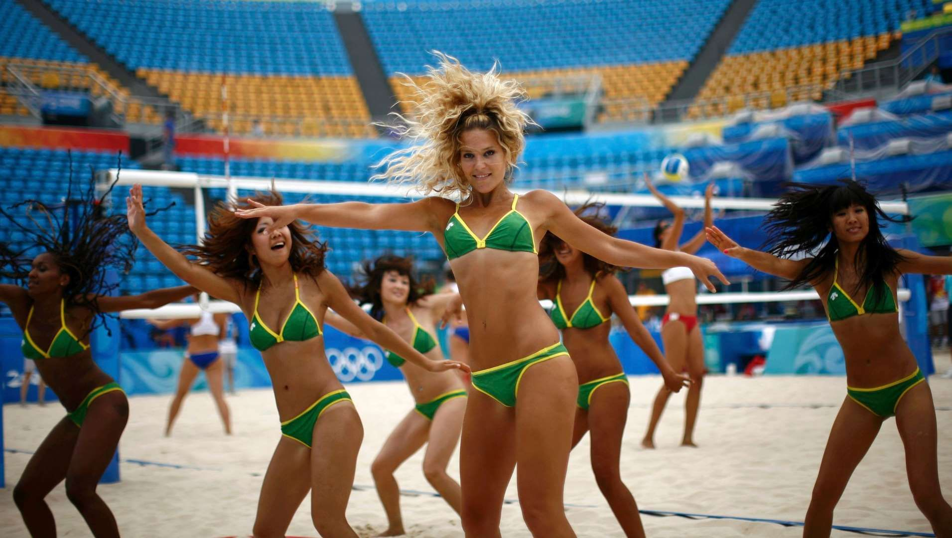 Cheerleaders Perform During A Training Session For The Beach Volleyball Events Ahead Of The Beijing 2008 Olympic Games Rio Olympics 2016 Cheerleading Olympics