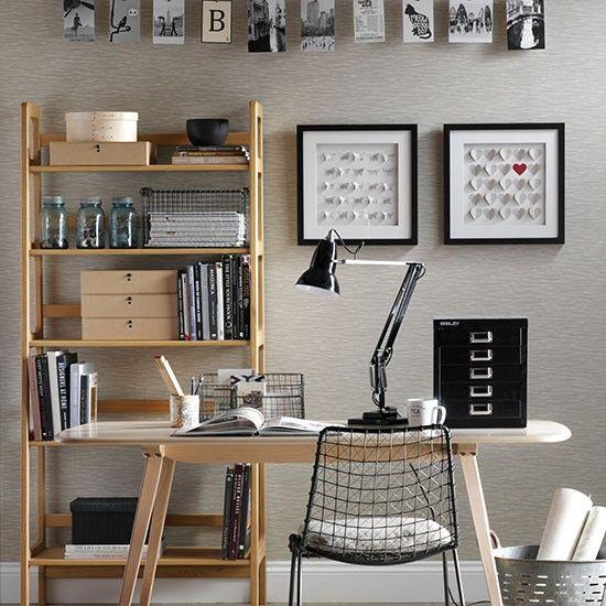 wohnideen arbeitszimmer home office b ro neutral b ro zu hause mit schwarzen accessoires. Black Bedroom Furniture Sets. Home Design Ideas