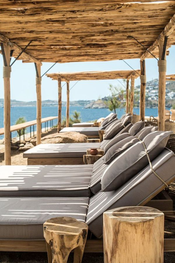 pinned by barefootstyling.com STYLISH SCORPIUS BEACH CLUB ON MYKONOS, GREECE | THE STYLE FILES