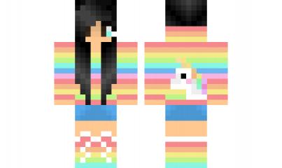 Rainbow Girlw Unicorn Minecraft Skins Rainbow Minecraft