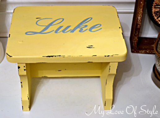 personalized stool Personalized Vintage Step Stool Tutorial | Owen ...