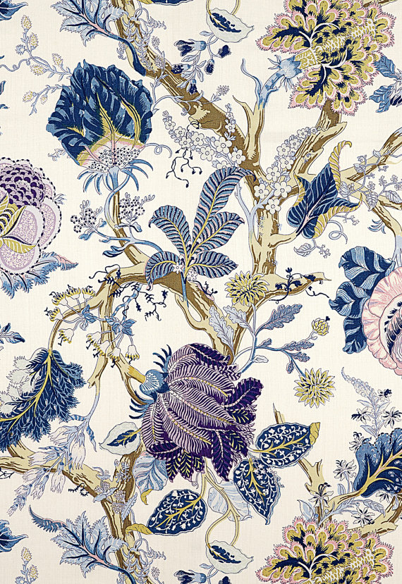 SCHUMACHER INDIAN ARBRE Jacobean Linen Fabric 10 yards Hyacinth Lavender Blue Multi