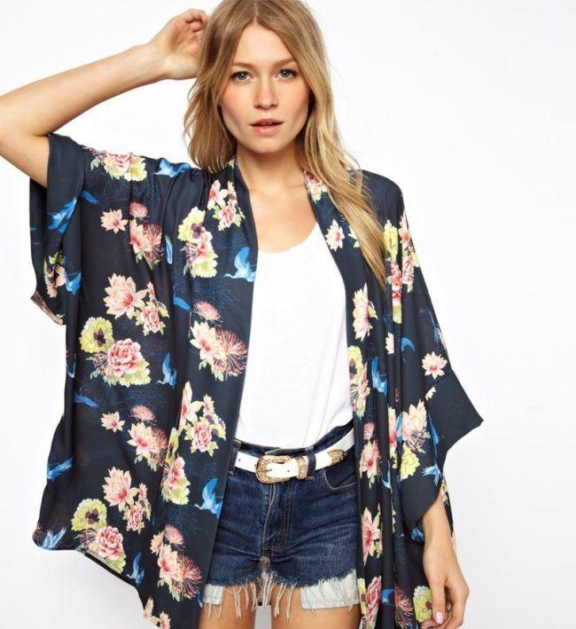 kimono n hen florale motive schwarz stoff weite aermel jeanshose kurz stoff pinterest. Black Bedroom Furniture Sets. Home Design Ideas