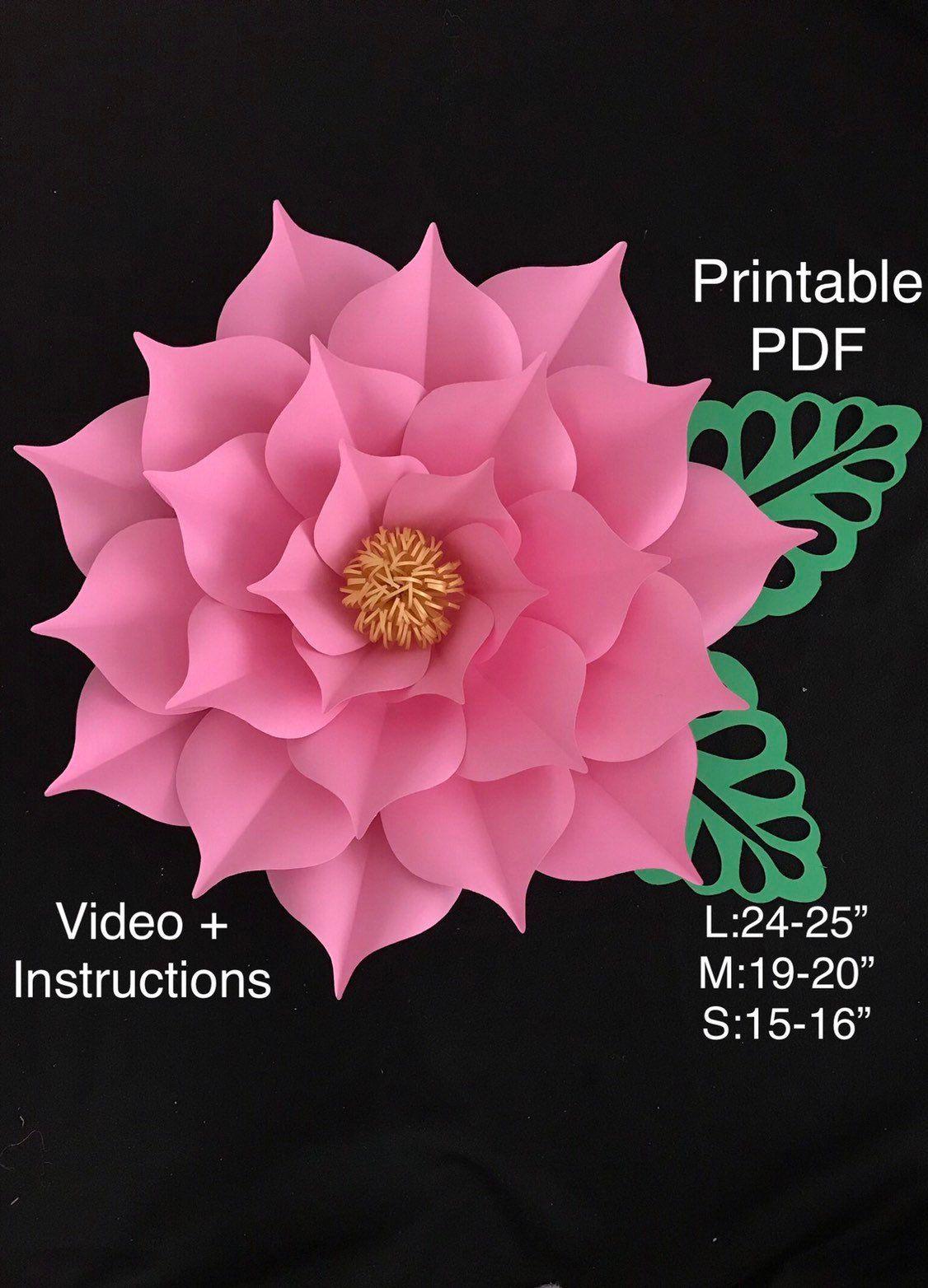 Printable Flowers for Paper Flowers Wall, Digital Paper Flower Template, Flores De Papel, Large 3D Paper Flowers, Giant Paper Flowers #giantpaperflowers