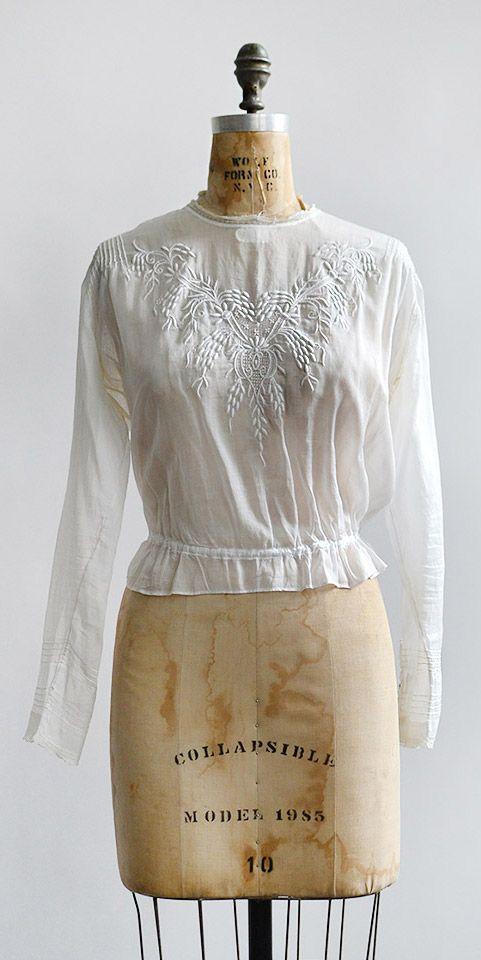 2d918e6e1f3898 antique 1900s edwardian embroidered shirt waist top   Adored Vintage ...