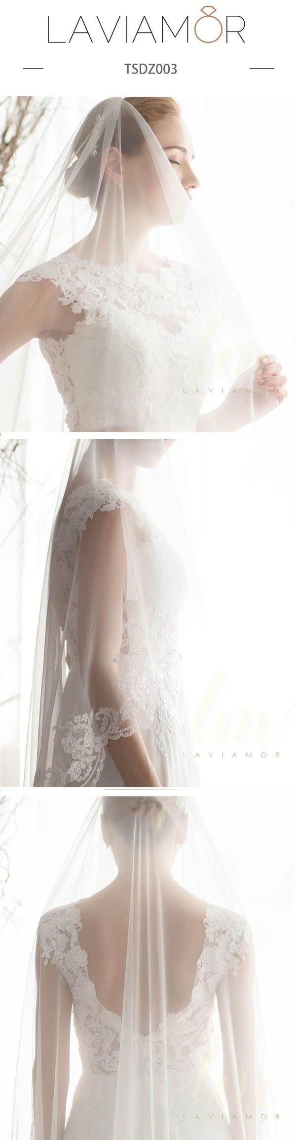 Elegant 1 Tier Mantilla Wedding Veil Drop Wedding Veil With Comb TSDZ003 | Laviamor