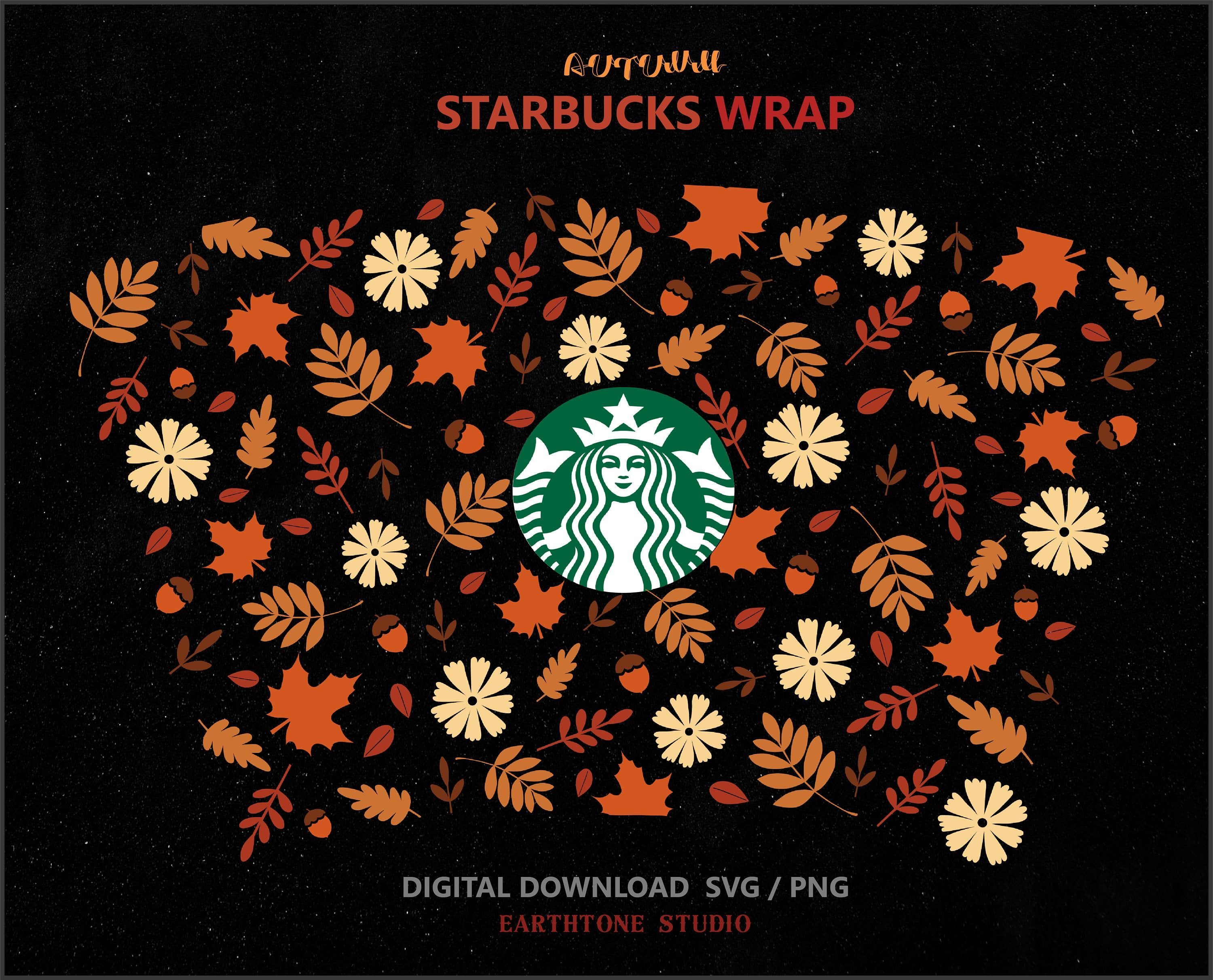 Fall Seamless Full Wrap Svg For Starbucks Venti Cold Cup 24 Oz Etsy In 2020 Starbucks Halloween Starbucks Fall Starbucks Venti