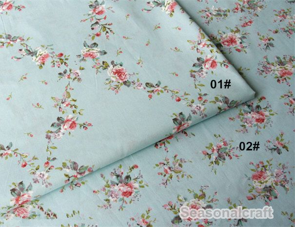 Romantic Rose Wall With Aque Blue Cotton Fabric Pink Cream Background Shabby Chic Large Flower Yard