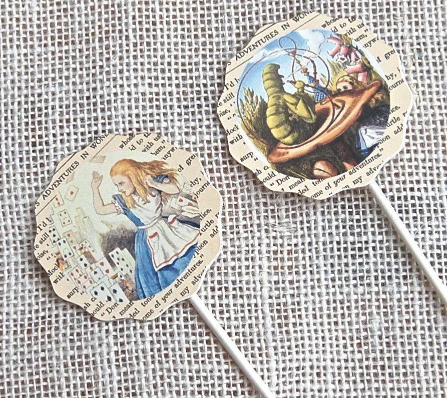 Cupcake Toppers Alice in Wonderland,Food Picks, Birthday Party Decorations, Alice Tea Party, Alice in Wonderland Birthday Party,White Rabbit