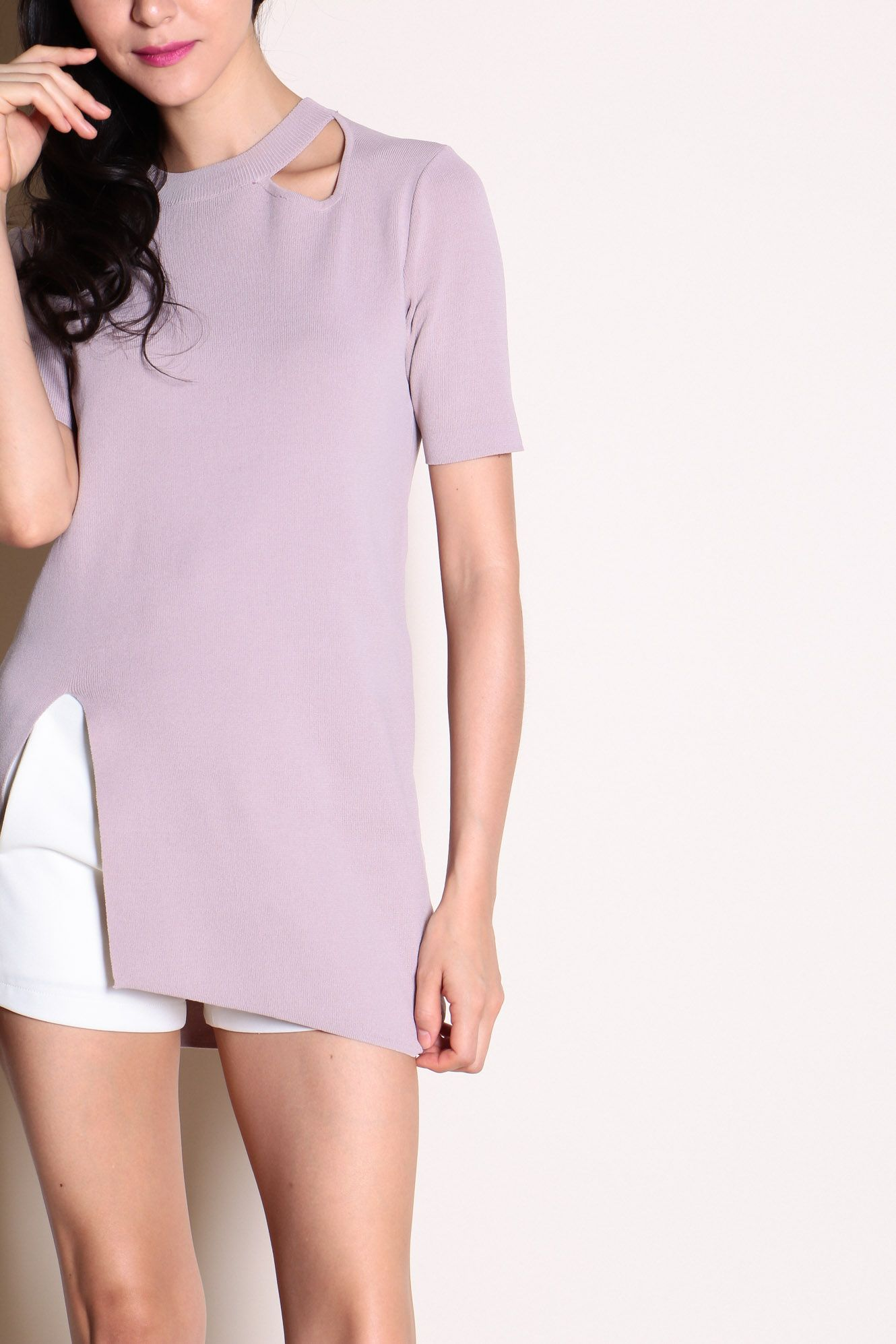 Cut-Out Slit Hem Tunic (Dusty Pink) SGD$ 30.00