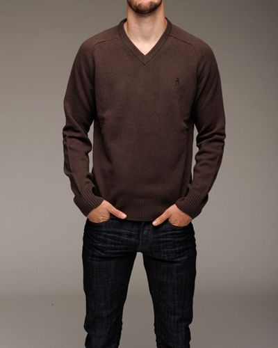 brown v neck sweater | BUY | Pinterest