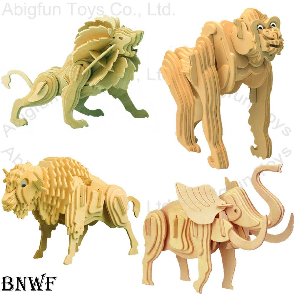 free craft patterns   3D Wooden Puzzle Animal Construction Kit Wood
