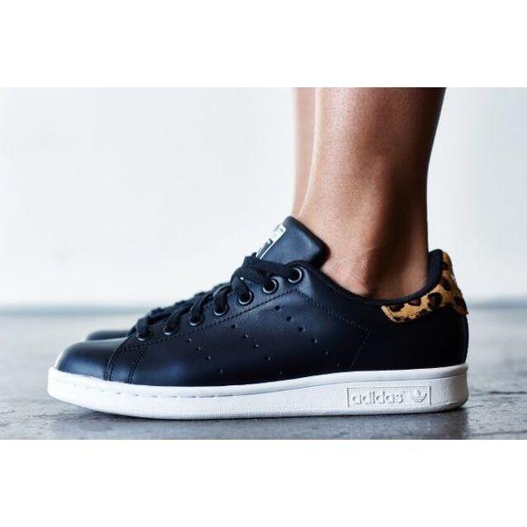 c802cb911f04 Stan Smith Black Leather + Leopard Print Sneakers •Black leather Stan Smith  sneakers with leopard