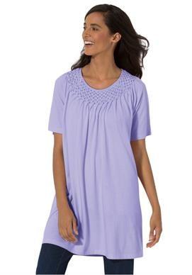 Plus Size Smocked scoop neck tunic top Item #: 0037-20595-1145, Pretty Lavender