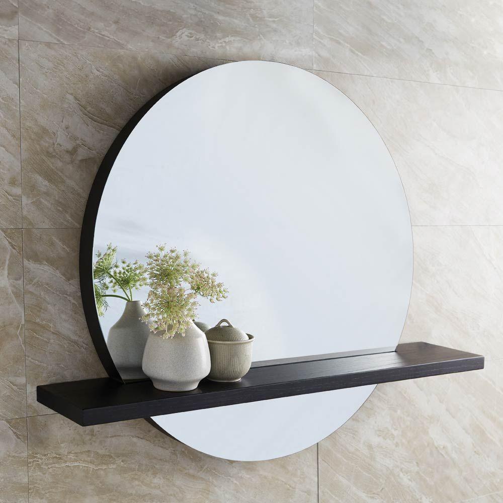 Solace Round Wall Mirror With Oak Frame, Oak Framed Bathroom Mirror With Shelf