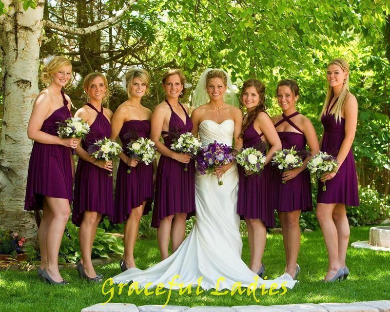 Sangria Bridesmaid Dresses Purple Real Picture Convertible ...