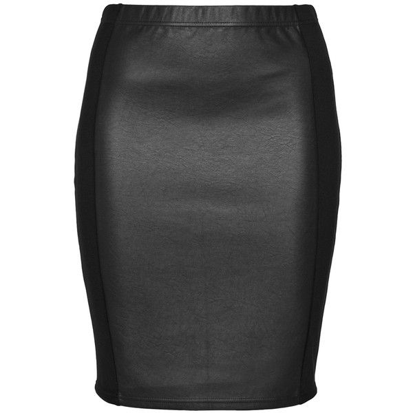 ac05c97a68707 Zhenzi Black Plus Size Mixed material pencil skirt ( 56) ❤ liked on  Polyvore featuring skirts