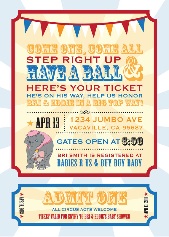 Dumbo Circus Personalized Baby Shower By Lizbeystudios On Etsy 18 00