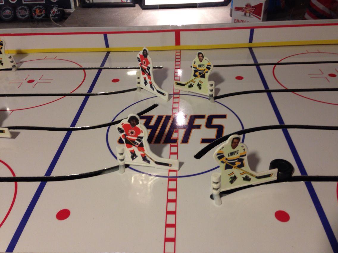 Vintage table hockey - Custom Chiefs Table Hockey Game From The Movie Slapshot Created At Www Playtablehockey Ca