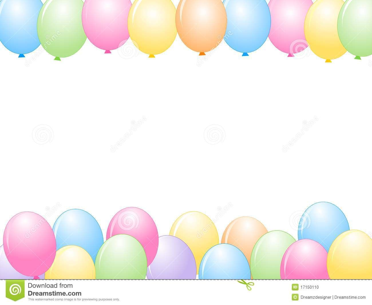 Birthday Border Horizontal Colorful balloons x3cb ...