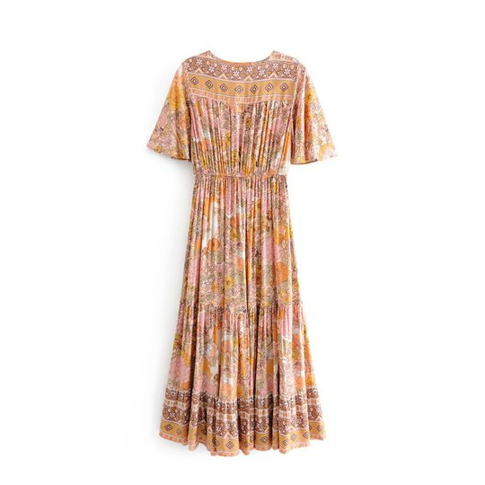 Vintage short sleeve  floral print Bohemian dress 8