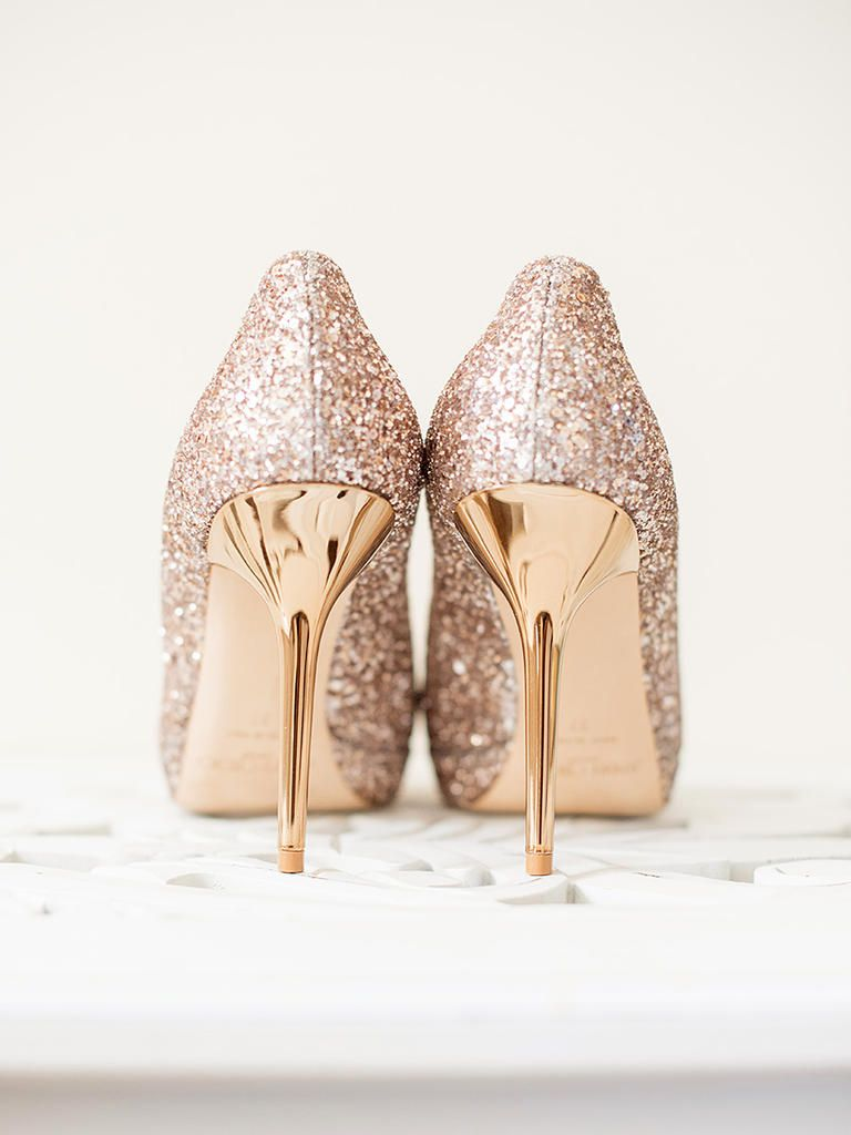58fbaa1096e3 Put a party on your feet with glittery stiletto wedding shoes that put  Cinderella s glass heels to shame.
