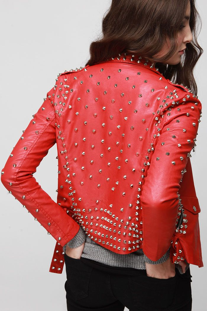 studded rocker chic biker jacket red. Why not  This would look terrific on  a mature woman as well as a biker chic 4be559640232