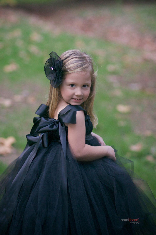 Black flower girl dress black tutu dress black dress flower girl