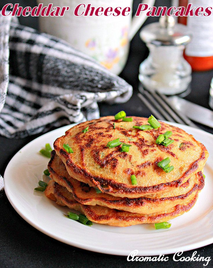 Pancakes with cheddar cheese and scallions, easy and delicious..