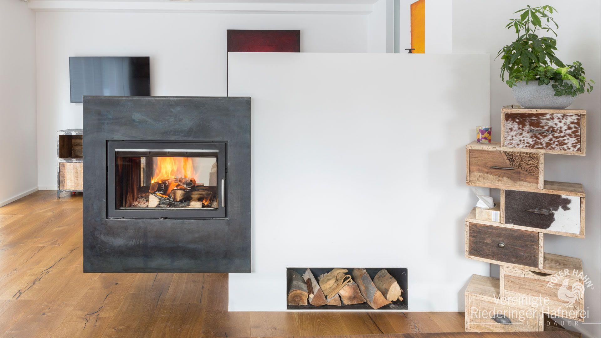 Moderner Durchsichtkamin Als Raumteiler. #durchsichtkamin ... Wohnzimmer Modern Mit Ofen