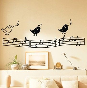 Three Singing Birds on the Musical Notation Music Wall Decals ...