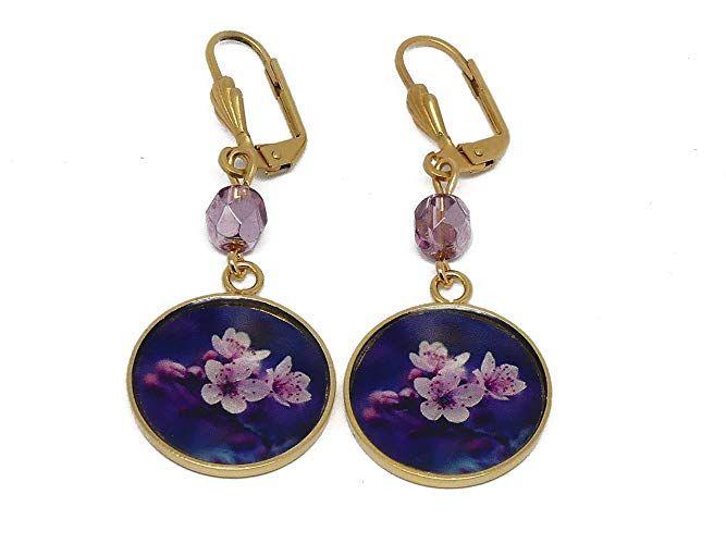 Boucles D Oreilles Sakura Laiton Or 24k Japon Fleur Violet Rose