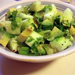 Tangy Cucumber and Avocado Salad..I changed the serving sizes to 2, but if you click on the link, you can adjust it again.  Also, a commenter said to add cherry tomatoes for color.  ~KB