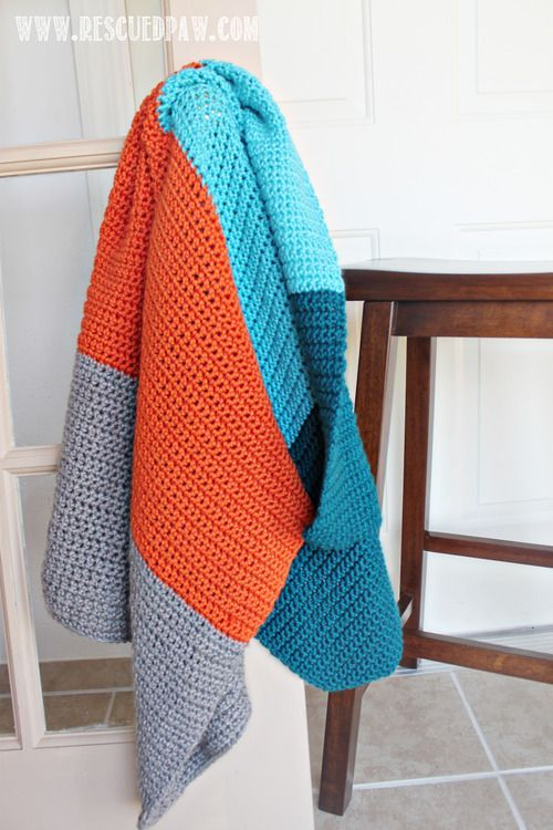 Simple Color Block Crochet Blanket Pattern Free Color Blocked