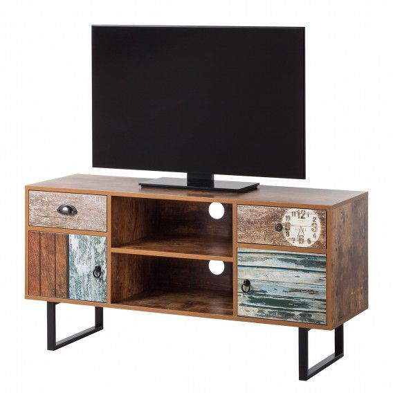 Tv Schrank Design Tv-schrank Ealing - Blau / Sheesham Dekor | Home24 # ...